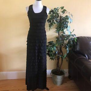 Max Studio Tiered Ruffle Maxi Dress Black Small